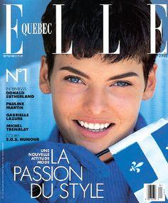 ELLE SE SOUVIENT : Linda Evangelista, Septembre 1989. A pompous first cover edition for ELLE Quebec's version.