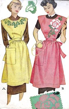 Free+Full+Apron+Patterns | Ladies Full Apron with Embroidery Transfer Vintage Sewing Pattern ...
