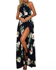 8537e644645d4 Romacci Women's Sleeveless Halter Neck Maxi Dress Vintage Floral Print  Backless Beach Long Dresses S-5XL,Blue/Black