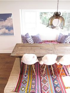 Rug pillow table combo