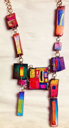 Polymer clay, necklace, inspired by Hundertwasser