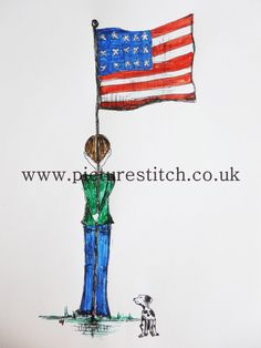 """Embroidery Digital File """" Boy with USA Flag"""" RESERVE"""