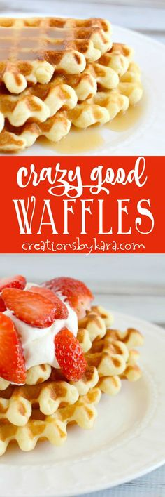 "Known as ""waffles of insane greatness"", these waffles are always a hit. They really are some crazy good waffles. A great waffle recipe to try! -from creationsbykara.com"