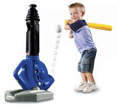 Gifts for Boys Ages 3 - 6 ~ This Fisher Price Triple Hit is super cool and gets great reviews.  It can either be used as a tee OR it will automatically shoot balls up from the bottom for your little guy to hit.  It shoots them up to 10 feet.