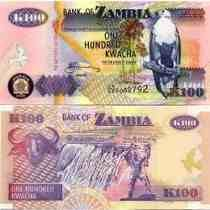 Zâmbia 100 Kwacha 2008 P. 38g Fe Cédula - Tchequito