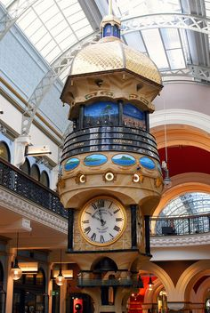 The Great Australian Clock  created byChris Cook at a cost of $1.5 million, this is reputed to be the world's largest hanging, animated, turret clock.It hangs in thr Queen Victoria Building in Sydney. Depicting the history of indiginous & European Australia, it features 138 figures in 33 scenes from the past.ttby gecko47, via Flickr