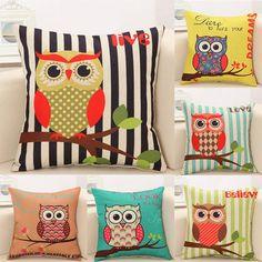 "Cute Owl Tree Pillow Cover Retro Design Pillow Case - 18""x18"""