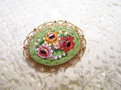 Vintage Green Mosaic Flower Brooch Colorful Great by ConnisCollections