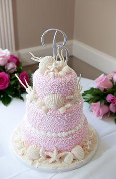 pink + cream seashell wedding cake