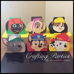 #mulpix Here are the 6 styles of Paw Patrol goodie bags that will be available for ordering. These still need the Paw Patrol Logo on their hats and the favor tags. I will post more pics when I am finished with all 30 bags.  #pawpatrol  #pawpatrolparty  #pawpatrolbirthday  #pawpatrolskye  #pawpatrolzuma  #pawpatrolchase  #pawpatrolmarshall  #pawpatrolrocky  #pawpatrolrubble  #handmade  #handcut  #craftfoam  #craftingparties