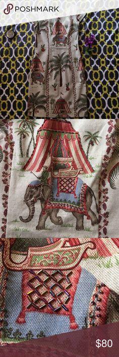 Maggy London Dress Maggy London SZ 10 safari elephants  palm trees multi color beige lightly beaded dress. New With out Tags. Maggy London Dresses Midi