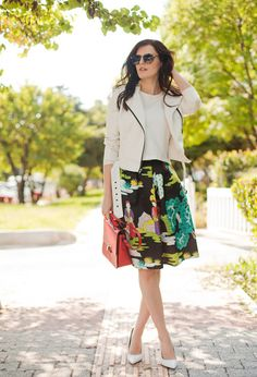 @roressclothes closet ideas #women fashion Printed Skirt Outfit Idea for Fall 2014