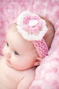 Newborn Baby Headband with Flower Knit by BostonAvenueBabies, $6.99