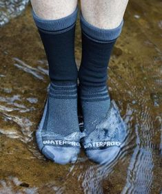 Don't let cold, wet feet ruin your outdoor fun. The Showers Pass Crosspoint Lightweight Waterproof socks solve your soggy toe problem and help keep your feet dry during outdoor activities in the rain. Available at REI, Satisfaction Guaranteed. Helmet Covers, Club Shoes, Waterproof Shoes, Wool Socks, Thigh Highs, Crew Socks, Outdoor Gear, Outdoor Fun, Hiking