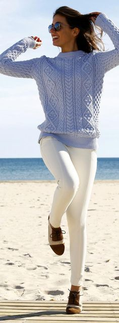 The Irish sweater - a classic that does not go out of style Blue Sweater Outfit, Baby Blue Sweater, White Knit Sweater, Cable Knit Sweaters, Sweater Outfits, Casual Outfits, Winter Sweaters, Blue Sweaters, Mohair Cardigan