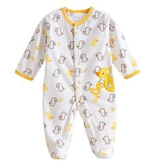 Baby Footie Romper Newborn Pajamas Sleep & Play Outfit Jumpsuit Fleece Bodysuit Snug Fit Sleepwear Snap Up Winter Layette Coveralls Yellow Duck 9-12Months/80cm