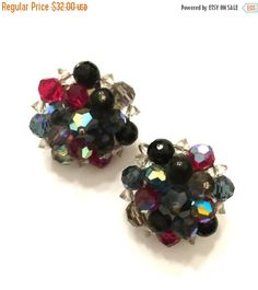 Laguna Crystal Earrings, Jewel Tone Crystal Cluster Earrings, Clip-On Earrings, Black, Blue, Red, and Clear Aurora Borealis Crystals
