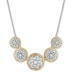 Lucky Brand Two-Tone Openwork Flower Collar Necklace ($45) ❤ liked on Polyvore featuring jewelry, necklaces, silver tone necklace, flower jewelry, lucky brand jewellery, lucky brand jewelry and gold tone collar necklace