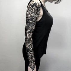 Absolutely kill sleeve of illustrative and geometric black and grey work by Otheser (IG—otheser_dsts). blackandgrey dark geometric largescale mandala Otheser skull wolf