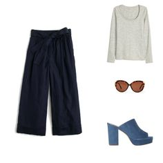 Summer outfit ideas with pants that will look chic and keep you cool. Try this outfit idea with cropped flares and heeled mules.