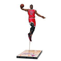 "McFarlane Toys NBA Series 28 Jimmy Butler Action Figure $9.95 This is Jimmy Butler's McFarlane Toys Sports Picks debut Butler is featured making another slam dunk in his red Chicago Bulls away uniform Jersey color may vary as rare Bronze Collector Level features Jimmy Butler in his white home uniform Figure is showcased on a basketball court sectional base with the player's name and team logo Each figure stands approx. 6"" tall and is sold in NBA-themed packaging"