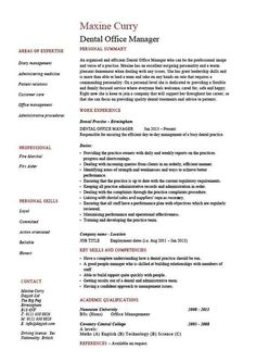 dental office manager resume example sample template dentist teeth cv