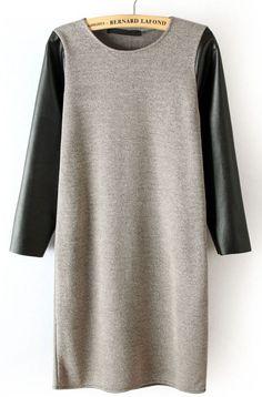 grey contrast leather sleeve dress.