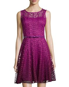 Ombre Fit-and-Flare Lace Dress, Mulberry/Multicolor by Chetta B at Neiman Marcus Last Call.