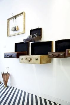 vintage luggage as wall displays or shelves, casasugar.com