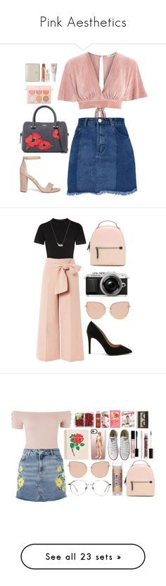 """""""Pink Aesthetics"""" by kalde on Polyvore featuring Kate Spade, Love, Sam Edelman, Guerriero, Too Faced Cosmetics, Kiehl's, Tory Burch, DKNY, Topshop and BCBGeneration"""