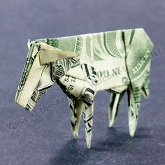 Dollar Bill Origami COW