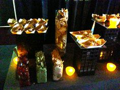 Part of a New York skyline food display. Tortilla Chips served in bamboo boats with Salsa, Guacamole and Hummus for dipping! // By: Canards Catering and Event Production // www.canardscatering.com
