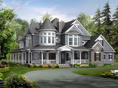 House Plan 87609 | Farmhouse Luxury Victorian Plan with 5250 Sq. Ft., 4 Bedrooms, 5 Bathrooms, 3 Car Garage at family home plans