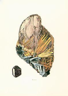1970 Cristaux  de Rutile. Planche Originale Pierres Précieuses Minéraux Roches. Géologie. Decoration murale. de la boutique sofrenchvintage sur Etsy