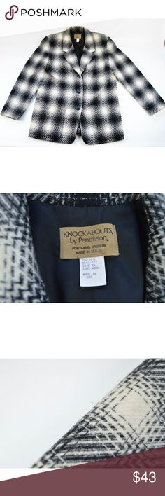Pendleton Womens Jacket Blazer Plaid Wool Size 14 Knockabouts by Pendleton black and ivory long sleeve button down plaid blazer.    Size: 14 Pendleton Jackets & Coats Blazers