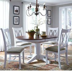 "Bring coastal charm to any dining occasion with this round pedestal dining table and double x back chair set. The set is customizable in over 32 finish options, and features a transitional look with clean lines and a single pedestal base. One 18"" butterfly leaf allows you to extend the table from a circle to an oval, adding extra space for guests and food."