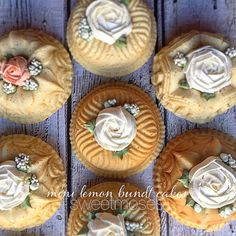 Planning a wedding? Your (or their) dessert table will not be complete without a display of mini Bundt cakes decorated in this fashion (by ) Cake Recipes, Dessert Recipes, Desserts, Lemon Bundt Cake, Bundt Cakes, Spring Cake, Wedding Cake Inspiration, Wedding Ideas, Cake Creations