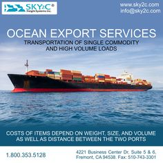 Transportation of single commodity and high volume loads, for example, grain, coal etc. ocean freight is the most economical way to export these products. Sky2C has it all covered: international shipping from port to port. Experience a better shipping experience with Sky2C.