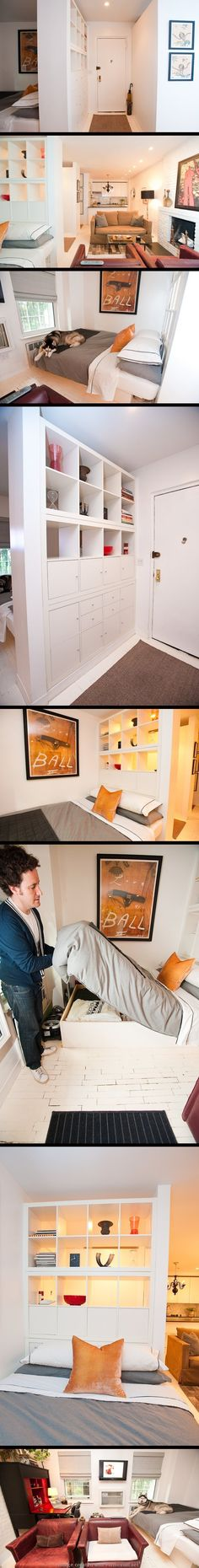 Clever small space solution for simultaneously creating a headboard, space division and storage.  From Apartment Therapy: http://www.apartmenttherapy.com/house-tour-jays-chelsea-loft-n-1-89223#_ - created via http://pinthemall.net