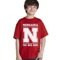 "Nebraska Cornhuskers ""Nebraska N GO BIG RED"" Youth Boys Tee Shirt"
