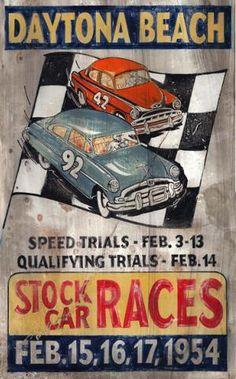 Rustic Wood Stock Car Races Sign