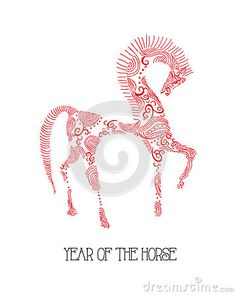 Chinese new year of the Horse abstract sketch illu by Cienpies Design / Illustrations, via Dreamstime