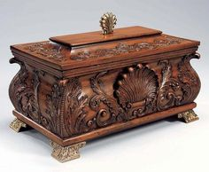 Finely Carved Mahogany Hardwood - 17 Inch Shell Motif - Table Top Box with Lid…