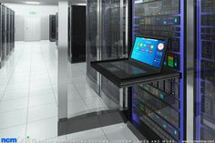 Web hosting server room illustration.
