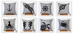 Mix and Match Pillow Nautical Pillow Cover set of 2 by KainKain
