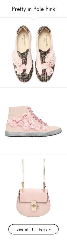 """Pretty in Pale Pink"" by luisaviaroma ❤ liked on Polyvore featuring Pink, pastel, luisaviaroma, lvr, shoes, sneakers, schuhe, pink, pink patent leather shoes and vintage sneakers"