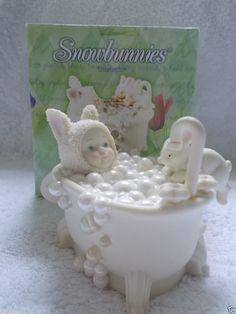 "Dept. 56 Snowbunnies ""Bunny Bubbles"" #56.26428 Bunny In Bubble Bath Rabbits"