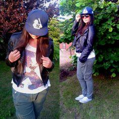 F&F-trousers, Amisu-leather jacket, NY-fullcap