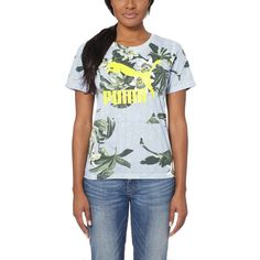 Puma AOP T-Shirt ($30) ❤ liked on Polyvore featuring tops, t-shirts, graphic design t shirts, graphic tees, crew neck t shirt, logo t shirts and oversized jersey tee