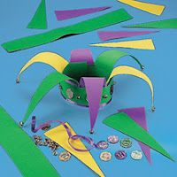 Mardi Gras Jester Hat -- I can make this! Hat Crafts, Book Crafts, Holiday Crafts, Holiday Fun, Mardi Gras Activities, Mardi Gras Hats, Carnival Crafts, Art For Kids, Crafts For Kids